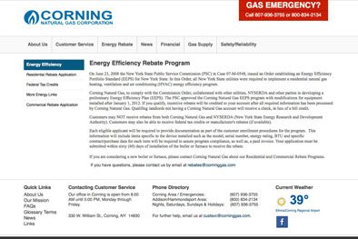 Corning Natural Gas Interior Page